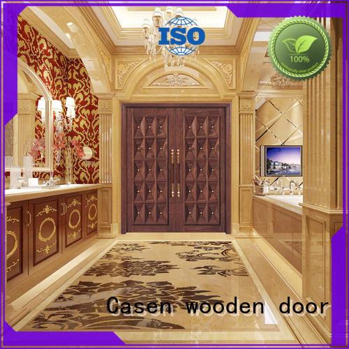 Casen iron solid wood main door design double carved for shop