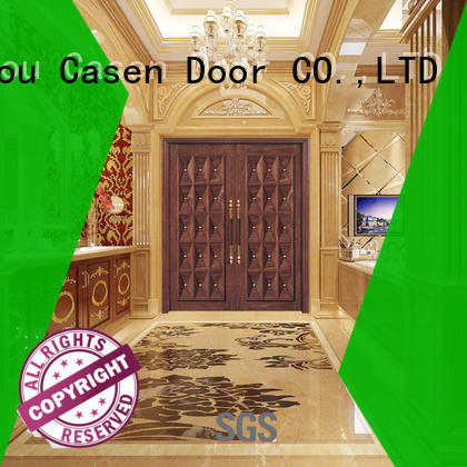 Casen beveledge exterior wood doors double carved for shop