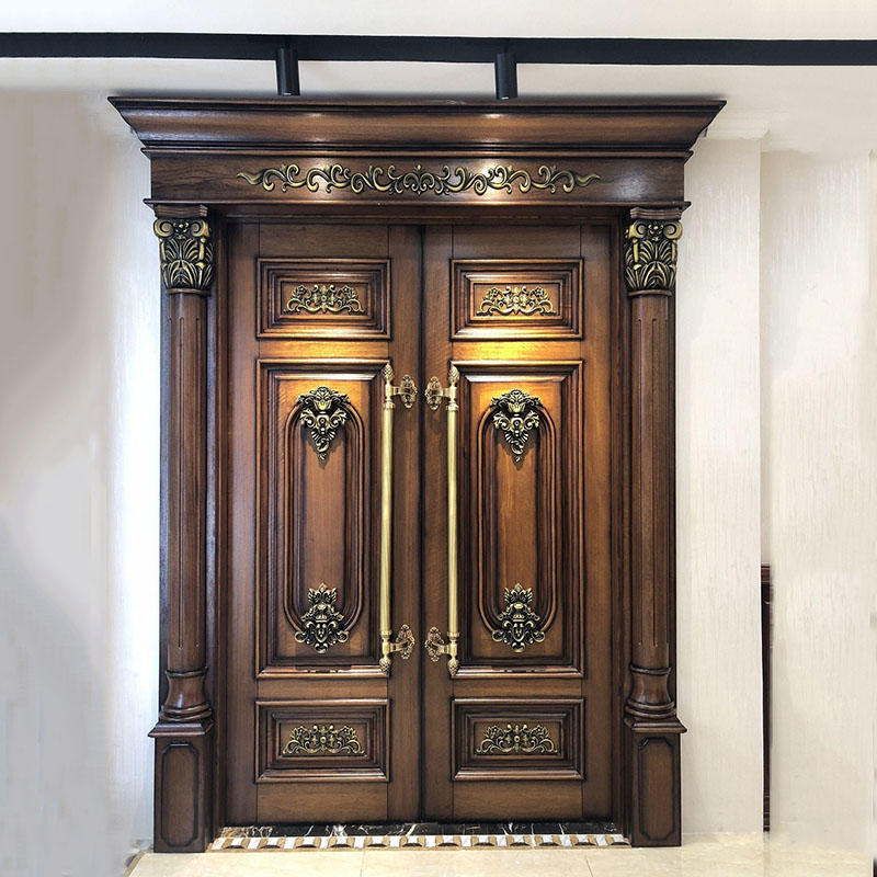 luxury design oak doors double carved for house Casen
