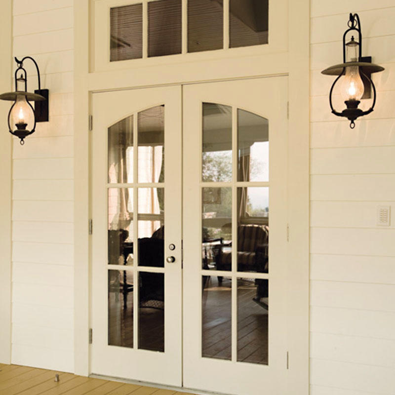 Luxury design iron glass main wooden door for outside use JS-8002
