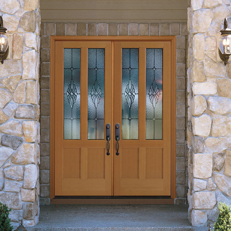 Beautiful bevel edge glass wooden main door for villa or house use JS-8001 A