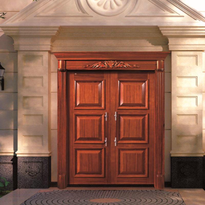 Natural Solid wood main door, double luxury wood door for outside use JS-8003