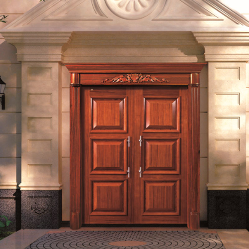 Natural Solid wood main door, double luxury wood door for outside use JS-8003-4