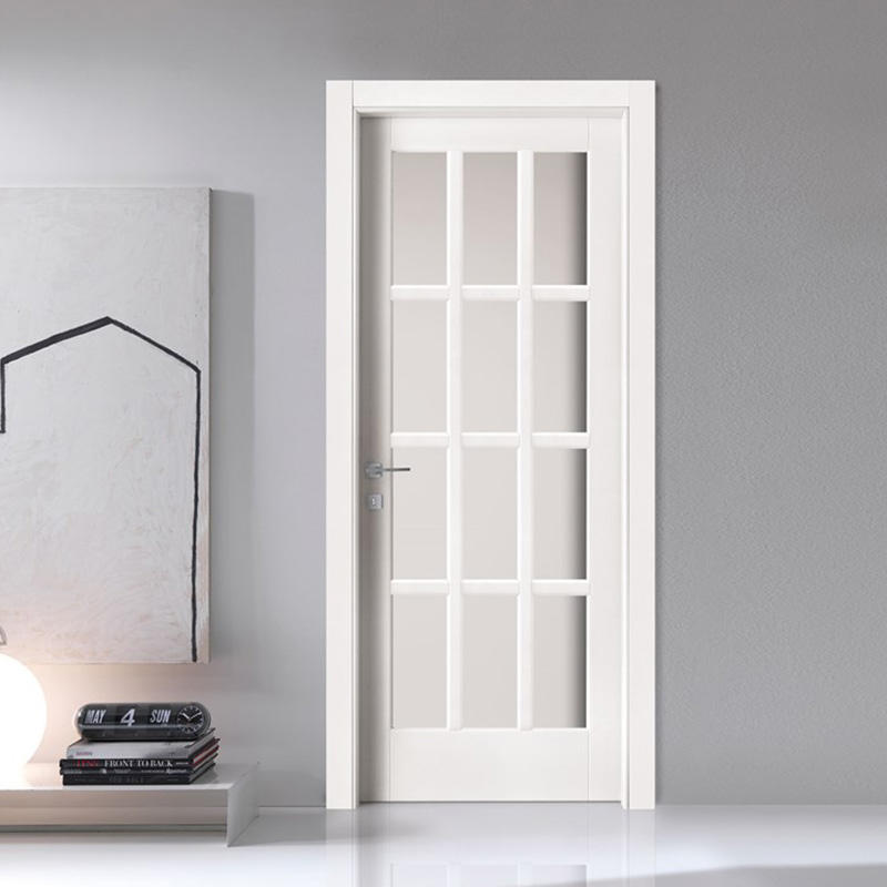 Modern design with glass ,white color wooden door for bedroom use JS-4003A