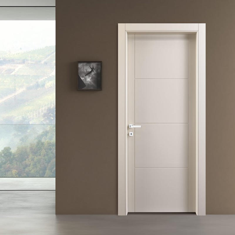 Flat ,plain white wooden door for bedroom inside use JS-2003A