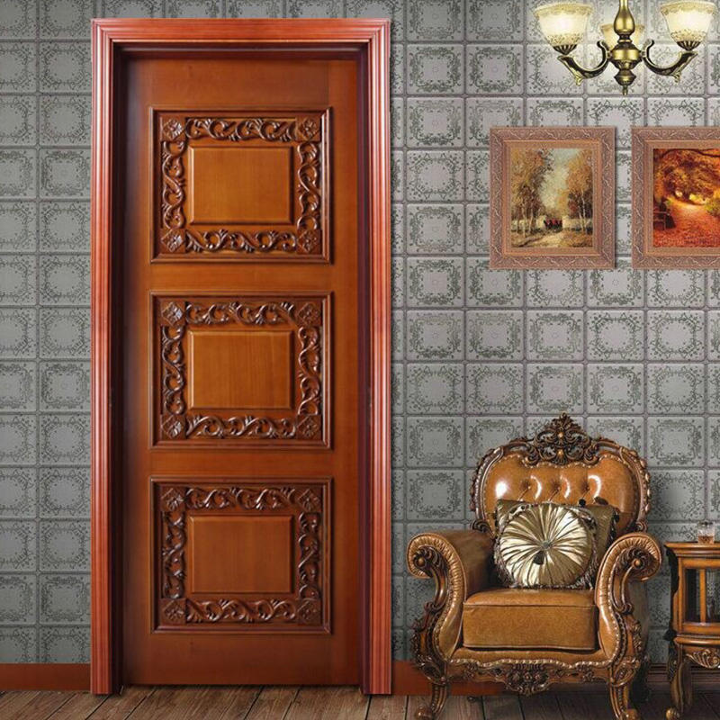 American style, carved flowers, luxury wooden door for inside use  JS-9005A