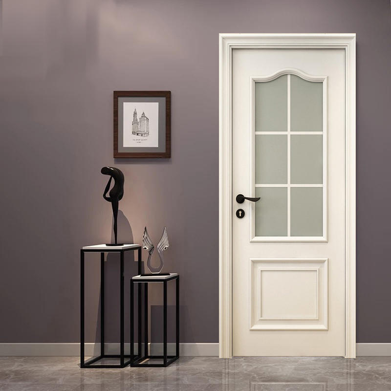 Italy style, white color luxury wooden doors,with glass for bathroom or kitchen  JS-9003A