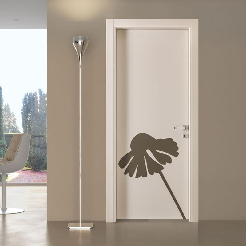 HDF doors white color with flower for room use  JS-1002A