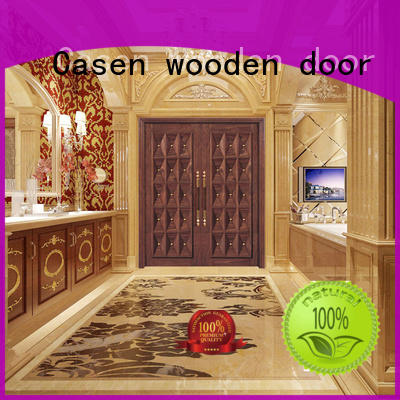 Casen natural wooden french doors double carved for villa