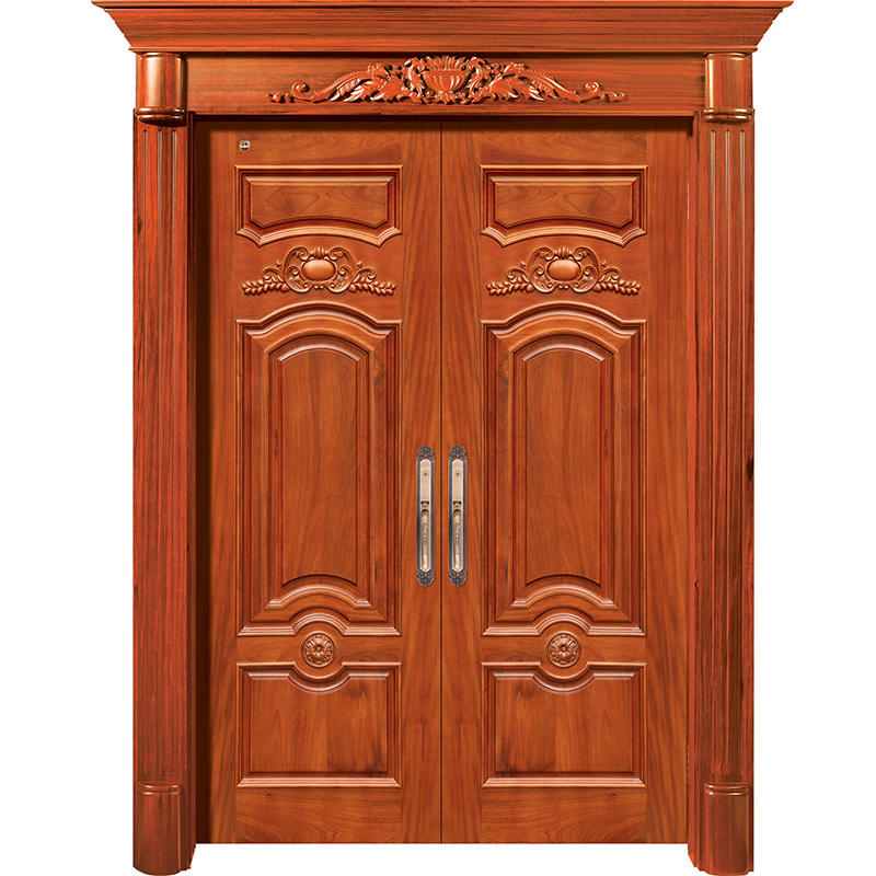 Natural Solid wood main door, double luxury wood door for outside use JS-8003-1