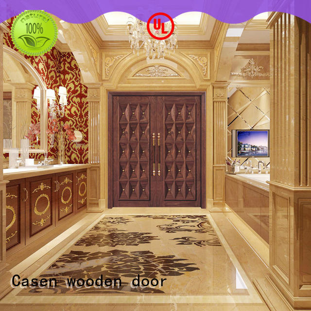 Casen natural modern entry doors double carved for shop