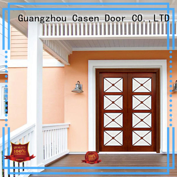 solid wood exterior wood doors iron double carved for store