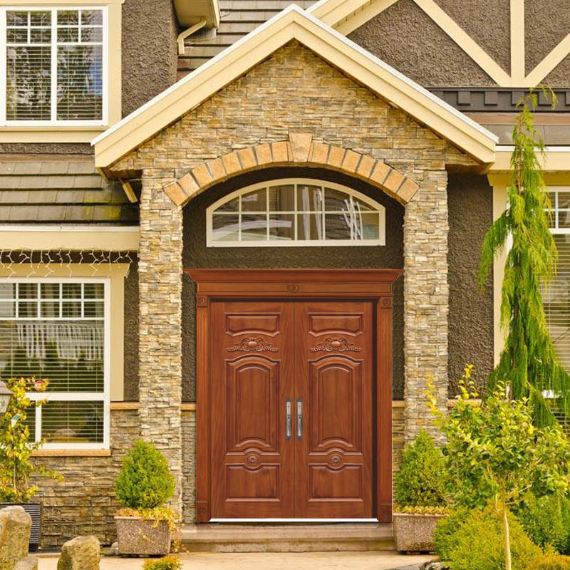 Natural Solid wood main door, double luxury wood door for outside use JS-8003-3