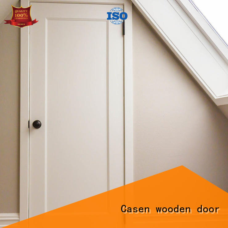 Flat white color MDF wood door for bedroom use  JS-1001B