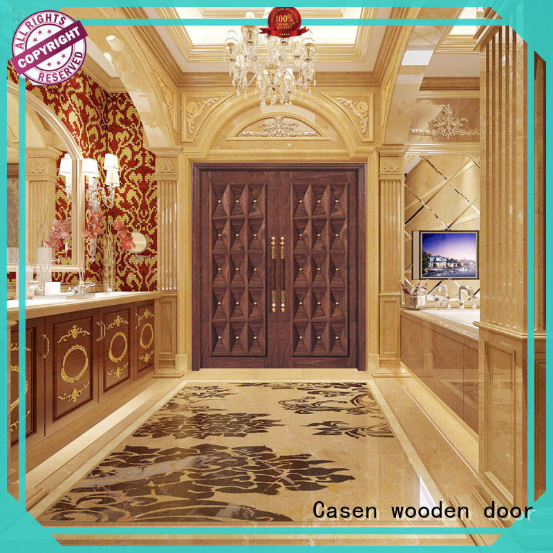 Casen natural wooden french doors double carved for shop