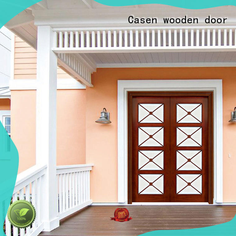 Casen beveledge solid wood front doors archaistic style for store