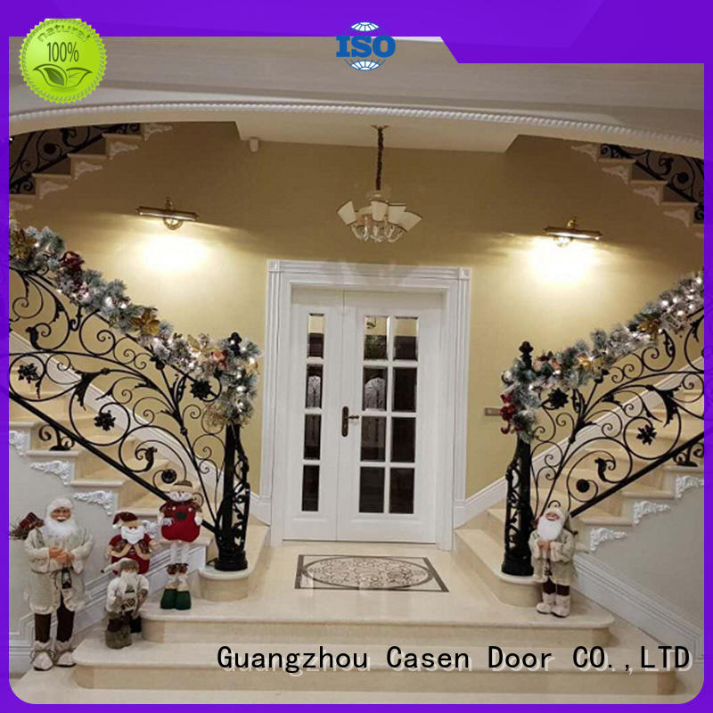 luxury design glass front doors double carved for house Casen