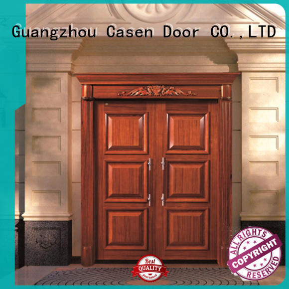 carved wooden glass contemporary front doors outside Casen