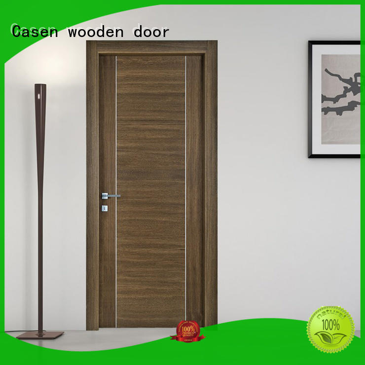 Professional simple design with stainless steel or aluminium hotel classic wooden door  JS-5003A