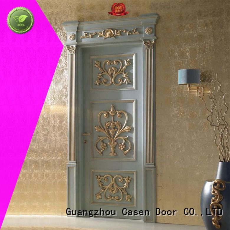 Casen carved flowers wooden door modern for store decoration
