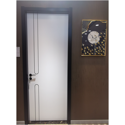 HDF flush door with aluminium round line