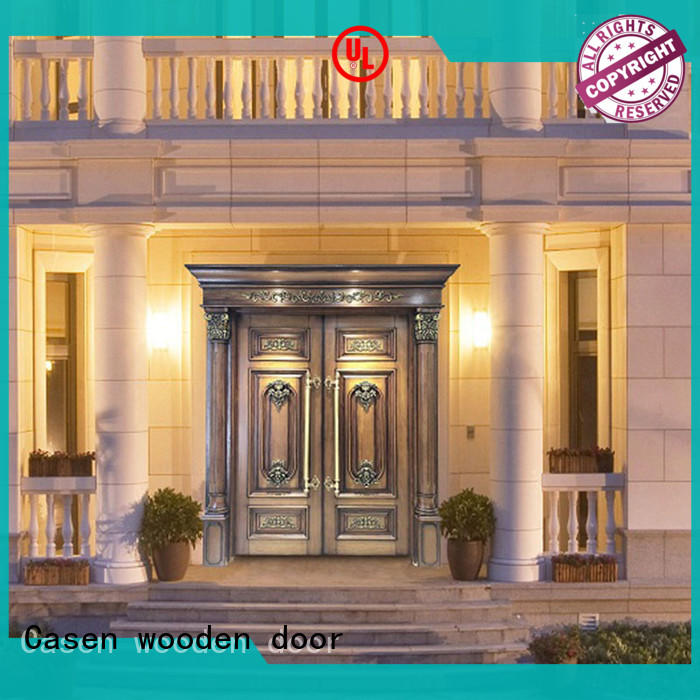 Solid wood main door , double door archaistic style for villa outside or house use JS-8010
