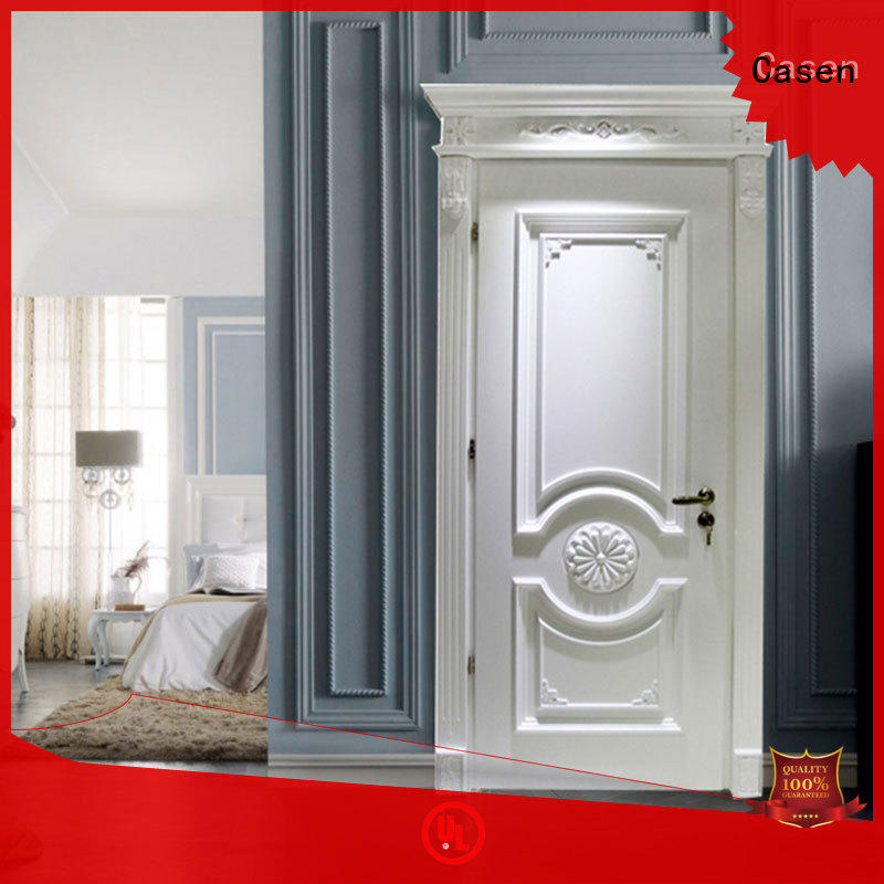 Casen white color luxury wooden doors fashion for bathroom