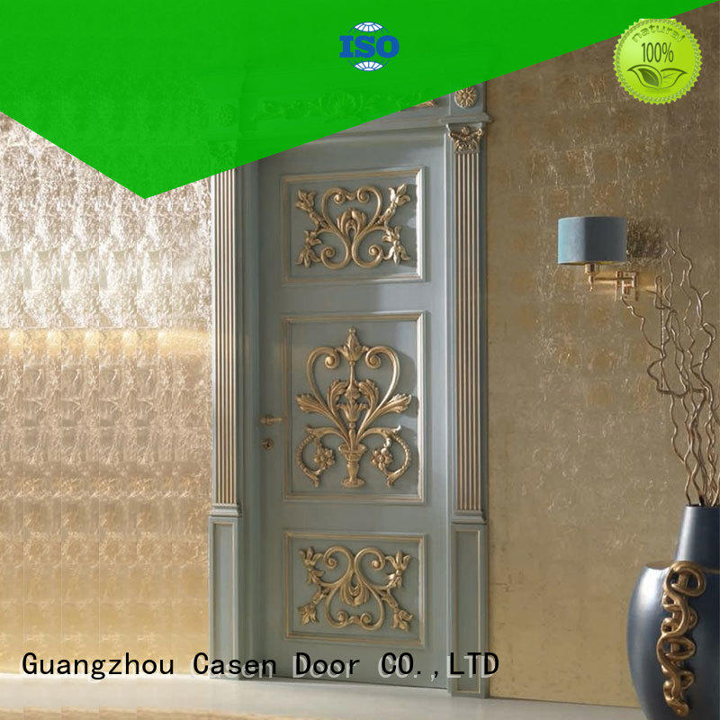 white color solid wood interior doors carved flowers easy for store decoration