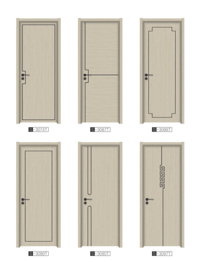 HDF flush door with aluminium round line